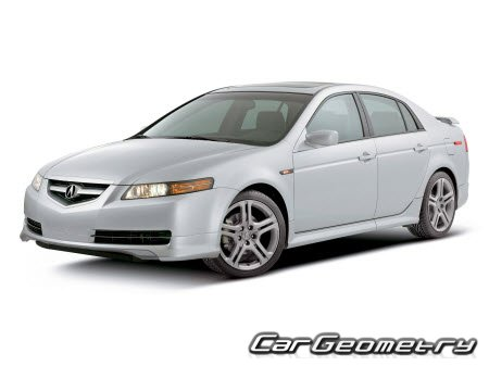 Размеры кузова Acura TL 2004–2008 Body Repair Manual