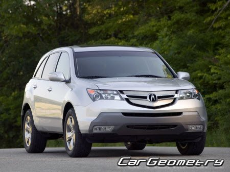 Размеры кузова Acura MDX (YD2) 2007–2009 Body Repair Manual