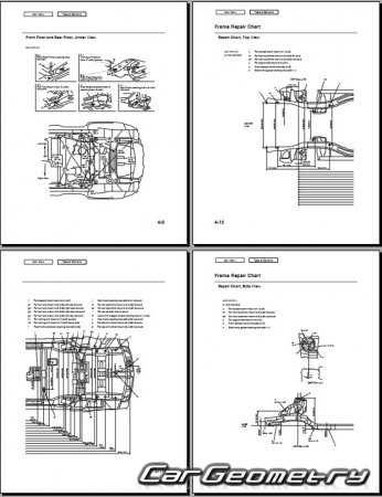 Кузовные размеры Acura MDX (YD2) 2010–2013 Body Repair Manual