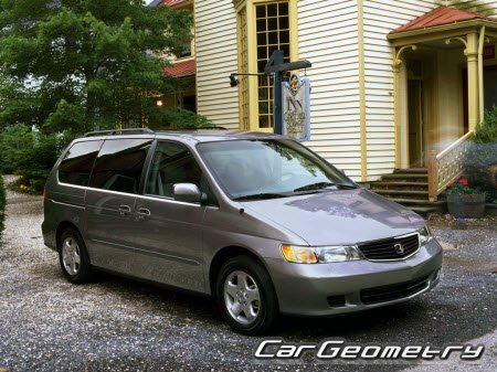 Кузовные размеры Honda Odyssey (RL1) 1999-2004 USA Body Repair Manual