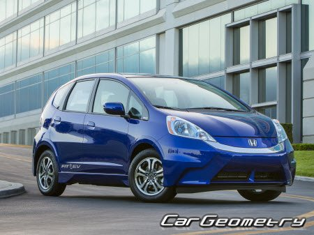 Размеры кузова Honda Fit EV с 2013 Body Repair Manual