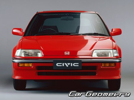 Размеры кузова Honda Civic 1988-1991 (Hatchback, Sedan, Wagon, CRX)