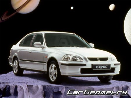 Контрольные размеры кузова Honda Civic 1996-2000 (Sedan, Coupe, Hatchback) Body Repair Manual