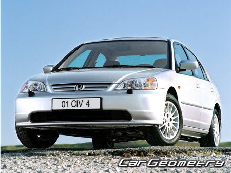 Кузовные размеры Honda Civic 2001-2005 (Sedan, Coupe) Body Repair Manual