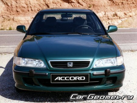 Геометрические размеры Honda Accord 1994-1997 (Sedan, Coupe, Wagon) Body Repair Manual
