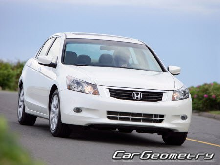 Контрольные размеры кузова Honda Accord 2008-2012 (Sedan CP, Coupe CS) USA Body Repair Manual