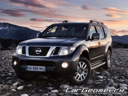 Кузовные размеры Nissan Pathfinder (R51) 2004–2012 Body Repair Manual