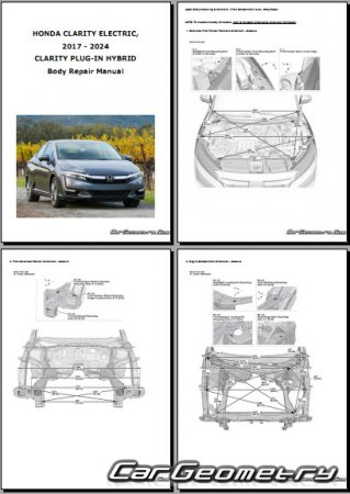 Размеры кузова Honda Clarity (ZC) 2017-2024 (Electric, Plug-In Hybrid, Fuel Cell)