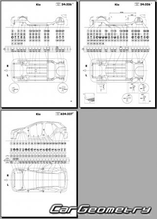 Размеры кузова Kia RIO (YB) 2017–2022 (5DR Hatchback) Body Repair Manual